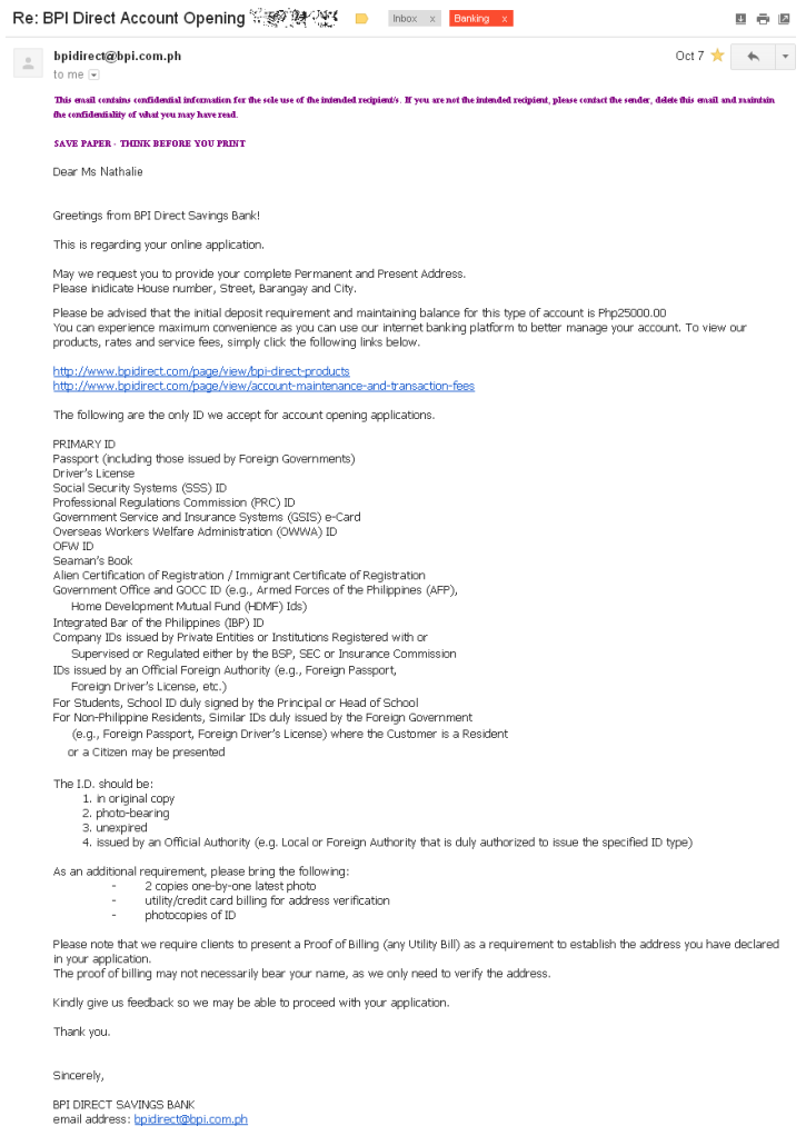 BPI Direct Account Opening email
