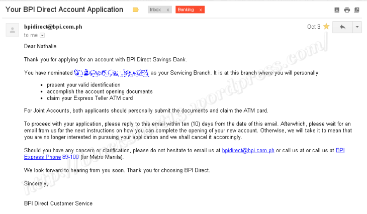 BPI Direct email