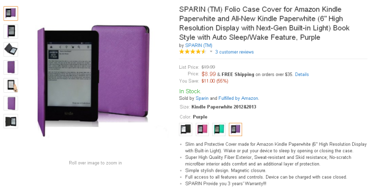 Purple SPARIN (TM) Folio Case Cover for Amazon Kindle Paperwhite and All-New Kindle Paperwhite Book Style with Auto Sleep-Wake Feature